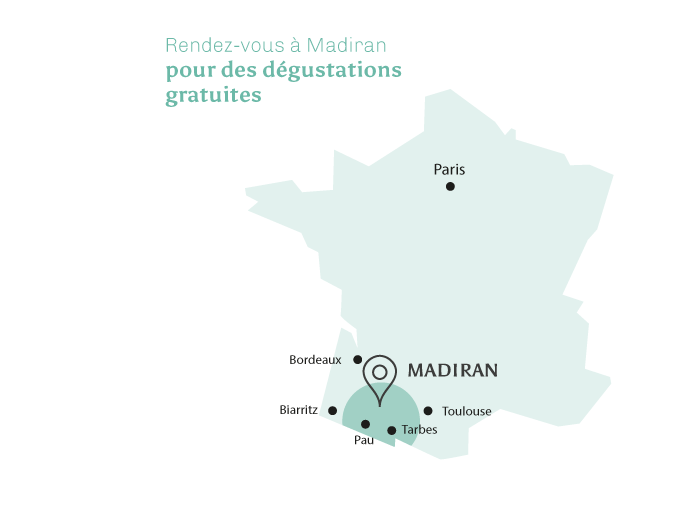 Carte des appellations Madiran et Pacherenc du Vic-Bilh